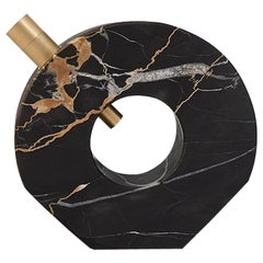 Voyager Disk Portoro Marble and Brass Table Lamp
