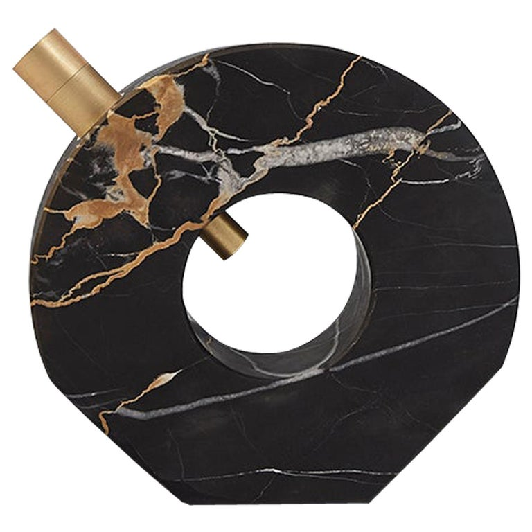 Voyager Disk Portoro Marble and Brass Table Lamp For Sale