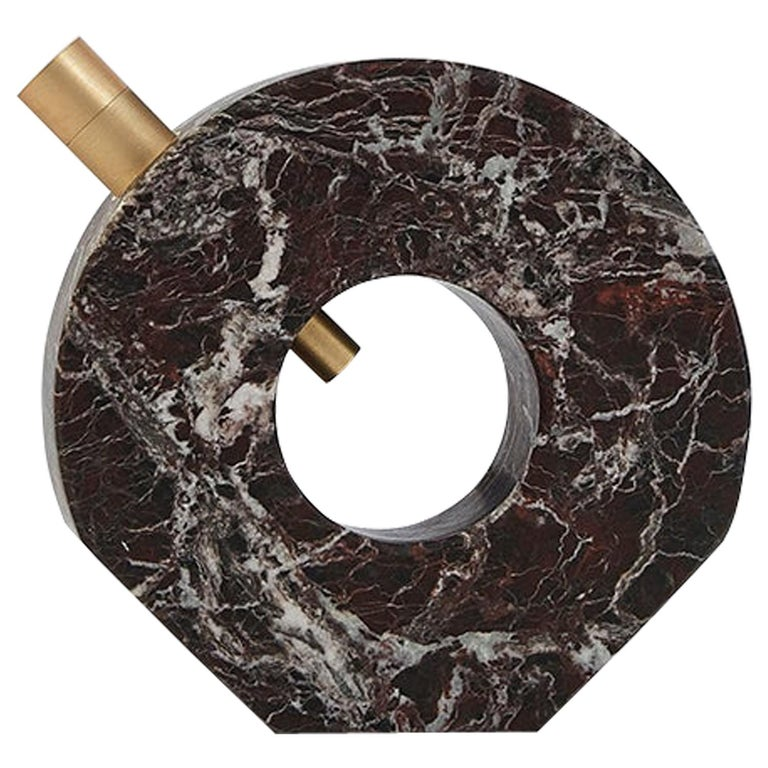 Voyager Disk Rosso Levanto Marble and Brass Table Lamp For Sale