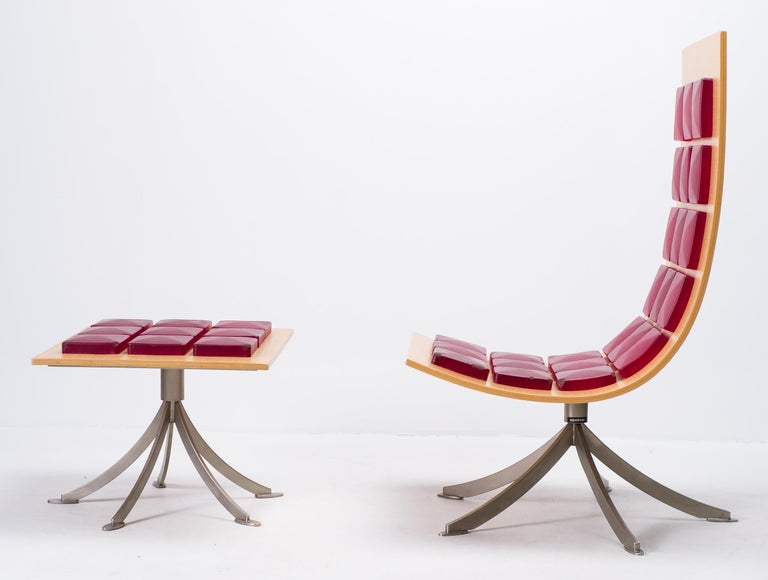 Contemporary Voyager Lounge Chair and Footstool by Gaby Fois Dorell For Sale