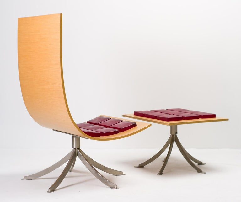 Stainless Steel Voyager Lounge Chair and Footstool by Gaby Fois Dorell For Sale