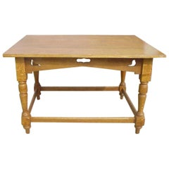 Voysey Style of Arts & Crafts Oak Dining Table with Dove Cut-Outs below the Top