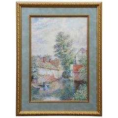V.P. Richards Impressionist Watercolor Mapledurham Mill Oxfordshire