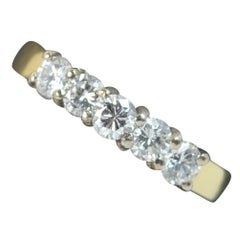 VS 0.75 Carat Diamond 18 Carat Gold Five-Stone Half Eternity Stack Ring
