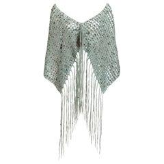 VS Design Archive Hand Crocheted Mohair Shawl Hand Beaded Vintage Trinkets Gems