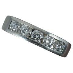 VS1 0.75 Carat Diamond Five-Stone Platinum Stack Ring