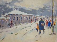 """going to school""Winter, Russian art, Children,Snow,Frost,cm- 33 x 24 1960"