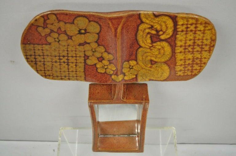 Vtg 1960s Michael Cohen Pottery Orange Ceramic Wall Shadow Box Mirror Sculpture For Sale 4