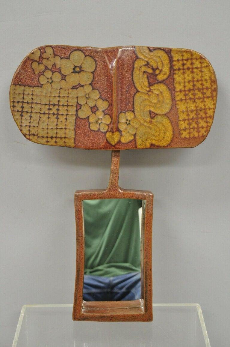 Vtg 1960s Michael Cohen Pottery Orange Ceramic Wall Shadow Box Mirror Sculpture For Sale 5