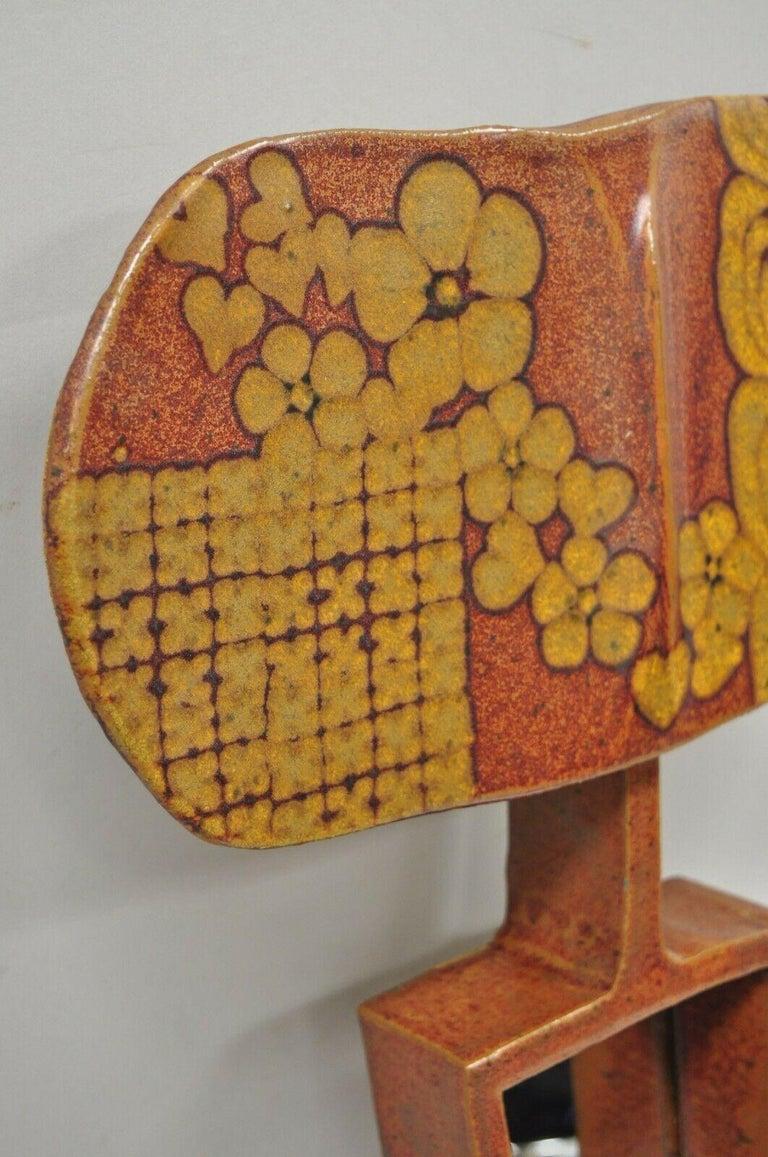 American Vtg 1960s Michael Cohen Pottery Orange Ceramic Wall Shadow Box Mirror Sculpture For Sale