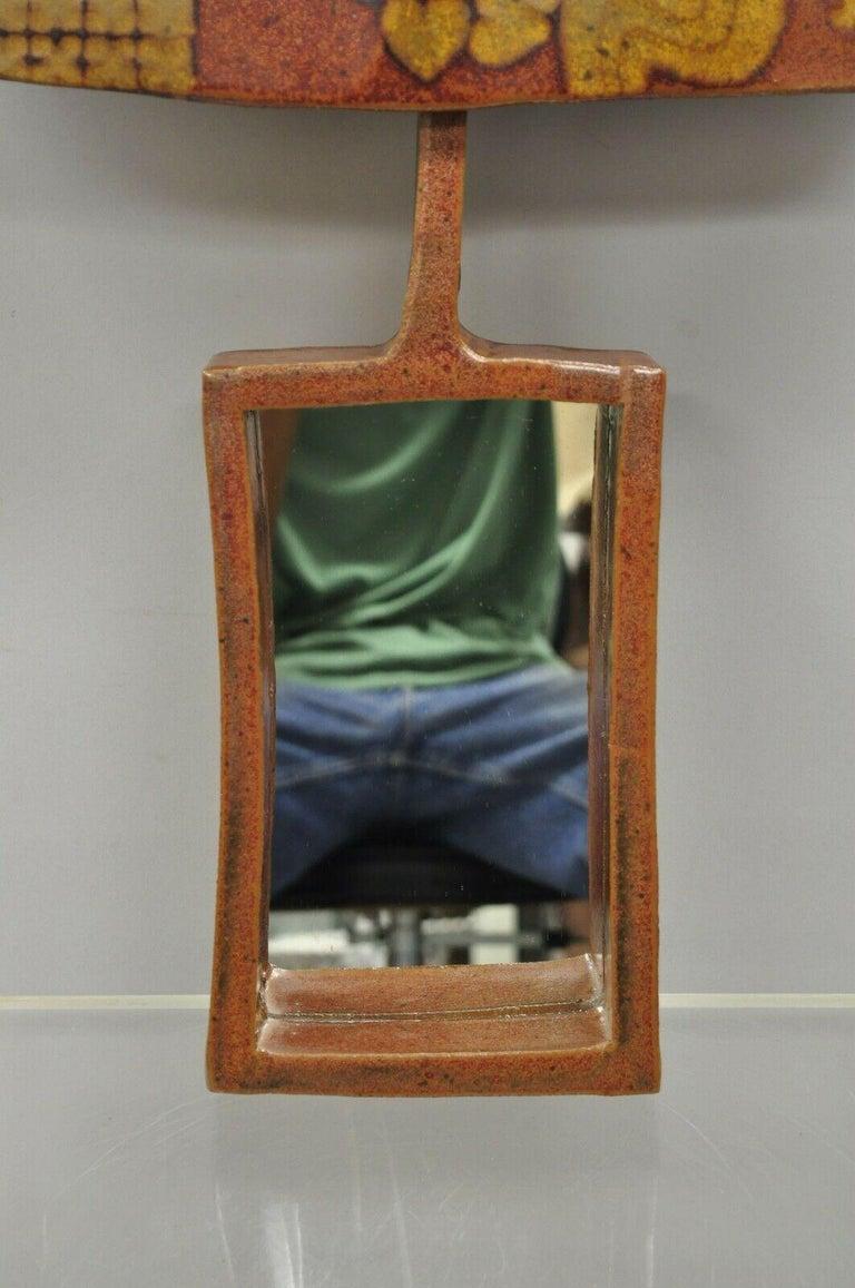 Vtg 1960s Michael Cohen Pottery Orange Ceramic Wall Shadow Box Mirror Sculpture In Good Condition For Sale In Philadelphia, PA