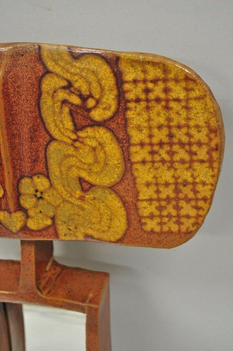 Mid-20th Century Vtg 1960s Michael Cohen Pottery Orange Ceramic Wall Shadow Box Mirror Sculpture For Sale