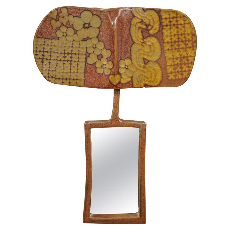 Vtg 1960s Michael Cohen Pottery Orange Ceramic Wall Shadow Box Mirror Sculpture For Sale