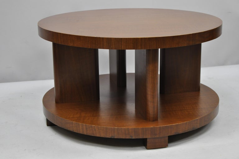 Art Deco French Round Mahogany 3 Piece Coffee End Tables After Gilbert Rohde
