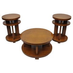 Art Deco French Round Mahogany 3-Piece Coffee End Tables after Gilbert Rohde