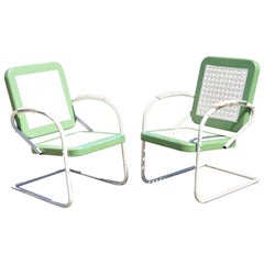 Vtg Art Deco Metal Basketweave Old Green Porch Outdoor Spring Arm Chairs, Pair