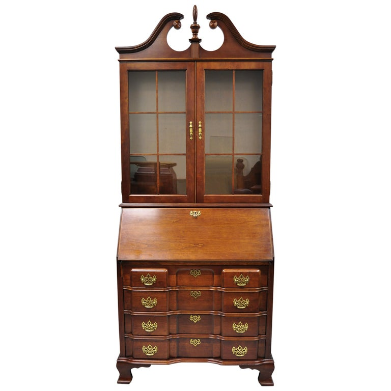 Vintage Secretary Desk >> Vintage Cherry Chippendale Block Slant Front Secretary Desk By Jasper Cabinet Co
