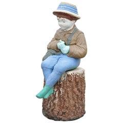 Vtg Concrete Boy Fishing Seated on Tree Stump Garden Statue Ornament Lawn Jockey