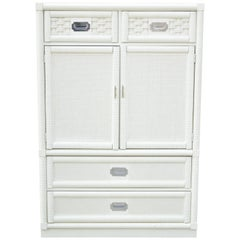 Dixie Cane Rattan Campaign Style White Tall Chest Armoire Dresser Cabinet