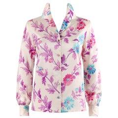 Vtg. EMILIO PUCCI c.1970's Cream Daisy Floral Leaves Silk Button-Down Shirt Top