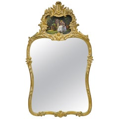 Gold Giltwood French Victorian Style Wall Mirror with Painted Courting Scene