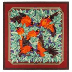 "Vtg. HERMES c.1984 Joachim Metz ""Les Perroquests""  Parrots Silk Scarf"
