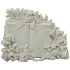 Vtg Italian Bas Relief Floral Carved Marble Sculptural Open Book Wall Plaque
