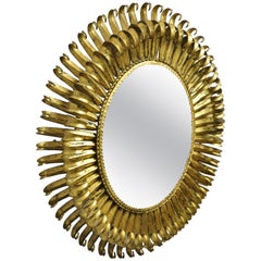 Vtg Italian Hollywood Regency Gold Gilt Iron Metal Oval Sunburst Wall Mirror