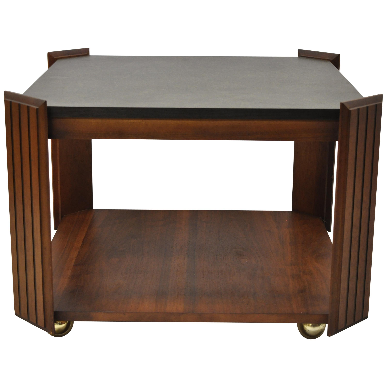 Lane Altavista Mid-Century Modern Walnut Square Rolling Side Coffee Table