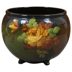 Vtg McCoy Loy-Nel-Art Pottery Footed Jardinier Planter Hand Painted Yellow Rose