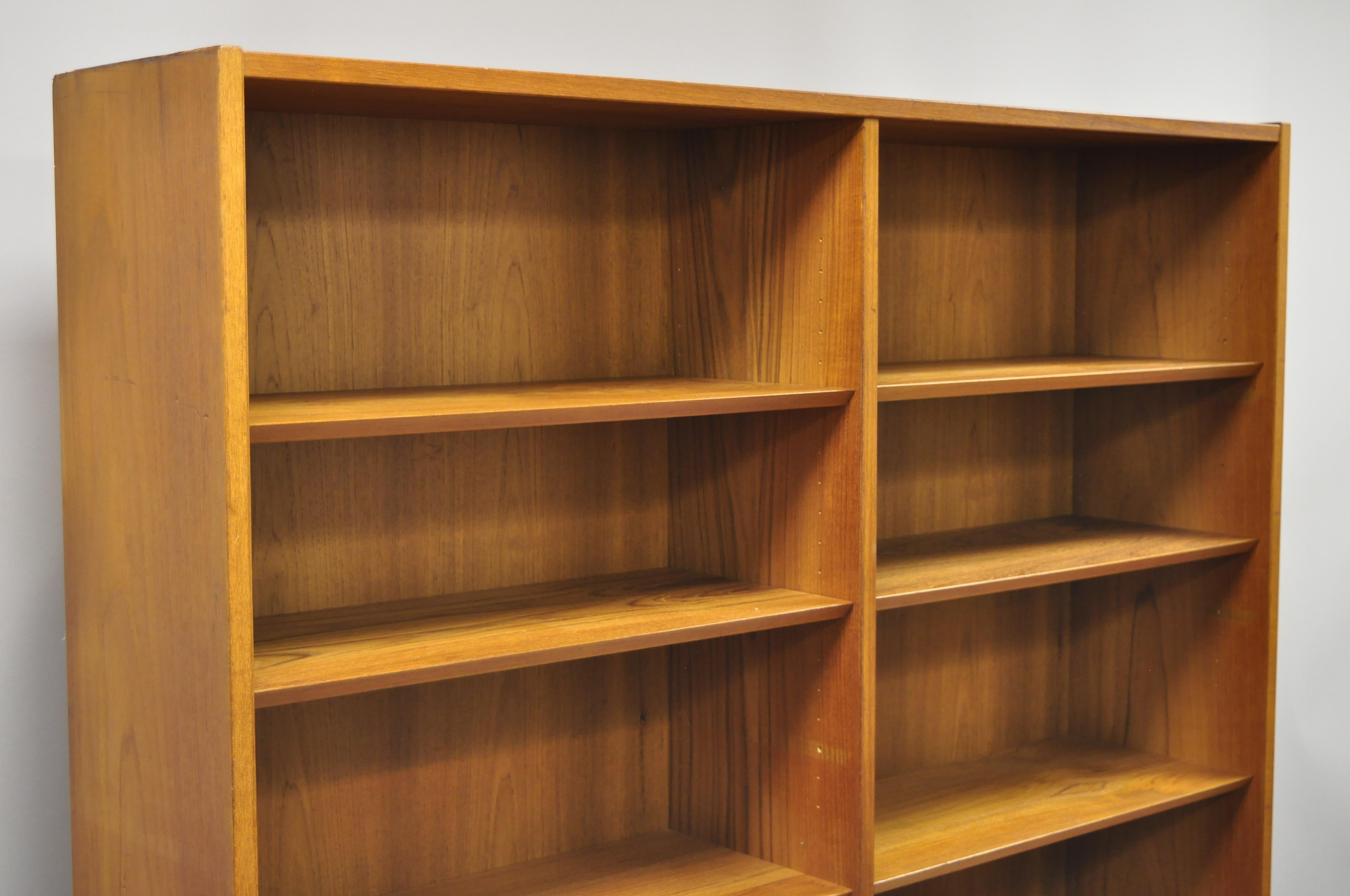 Midcentury Danish Modern Teak Wood Bookcase Wall Unit