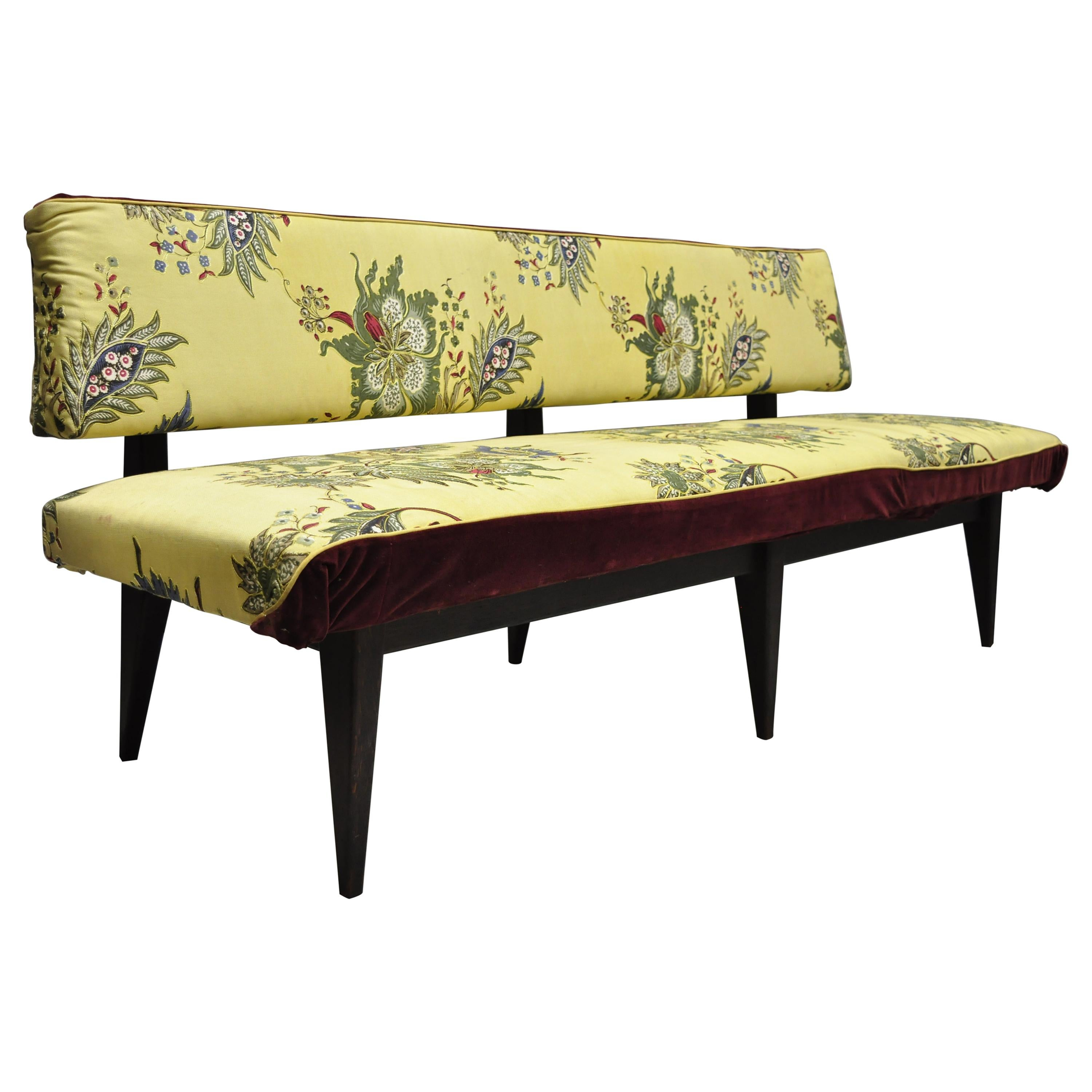 Vtg Mid Century Italian Modern Oak Wood Banquette Settee Bench After Paolo Buffa For Sale At 1stdibs