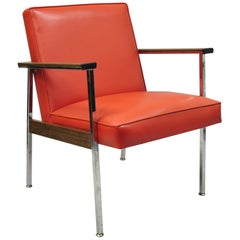 Mid-Century Modern America Office Lounge Armchair Red Vinyl by Designcraft