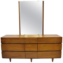 Mid-Century Modern American of Martinsville Walnut Dresser Credenza and Mirror