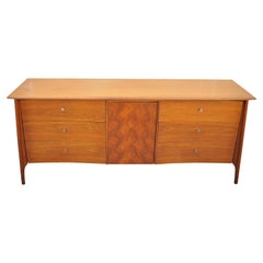 Vtg Mid Century Sculpted Walnut Credenza Cabinet Dresser Marquetry Inlay Door