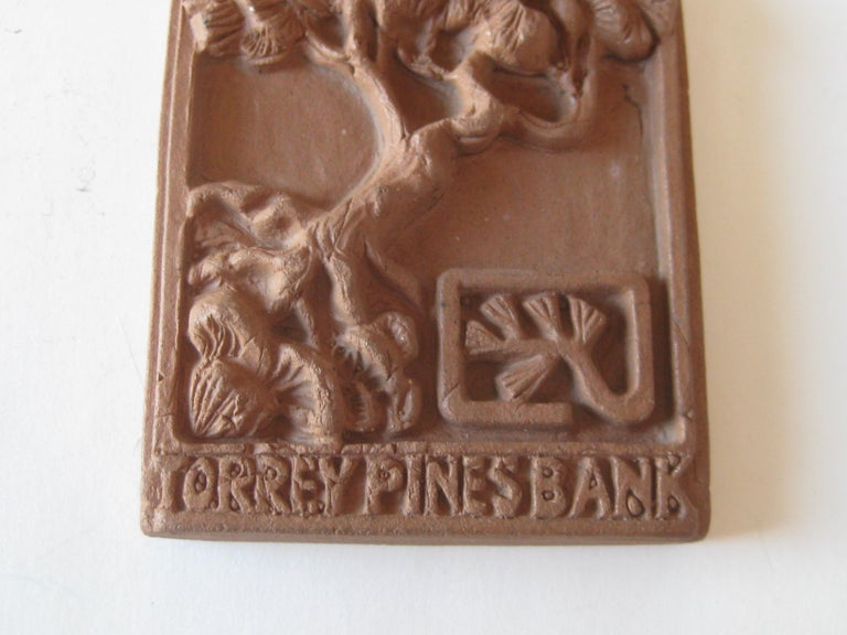 Vtg Modernist Torrey Pines Bank Advertising Art Pottery Plaque Tile San Diego In Excellent Condition For Sale In San Diego, CA
