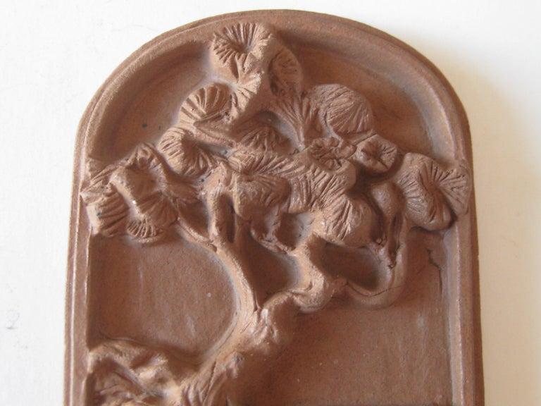20th Century Vtg Modernist Torrey Pines Bank Advertising Art Pottery Plaque Tile San Diego For Sale