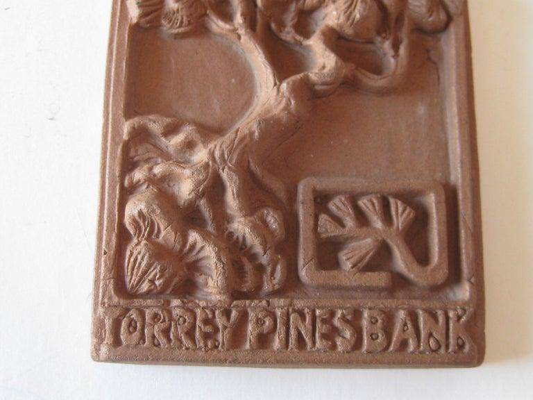 Vtg Modernist Torrey Pines Bank Advertising Art Pottery Plaque Tile San Diego For Sale 1