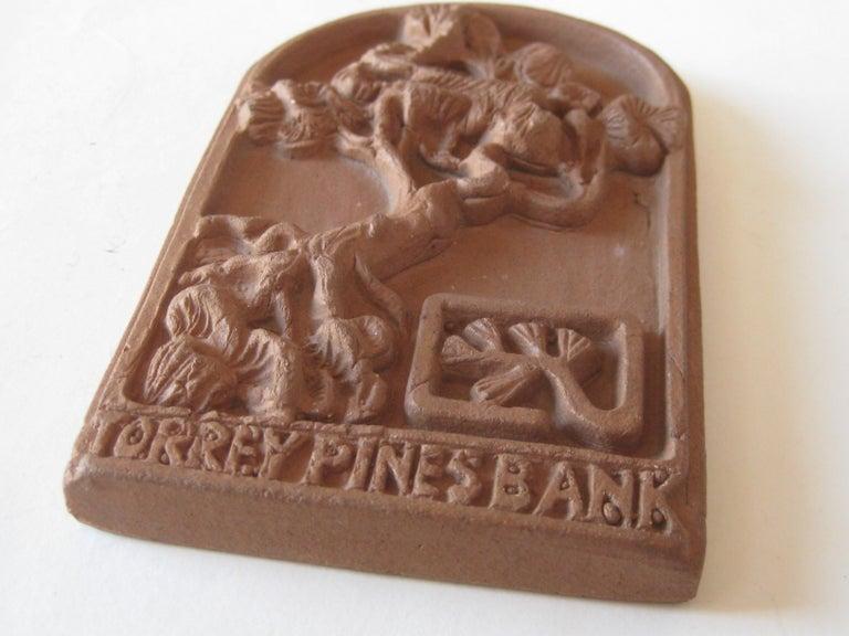 Vtg Modernist Torrey Pines Bank Advertising Art Pottery Plaque Tile San Diego For Sale 2