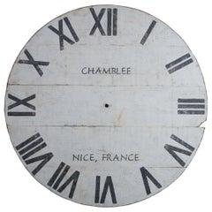 Vtg Monumental Folk Art Painted Pine Chamblee Wall Clock Face Nice, France