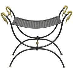 Wrought Iron and Brass Classical Swan French Regency Style Curule Vanity Bench