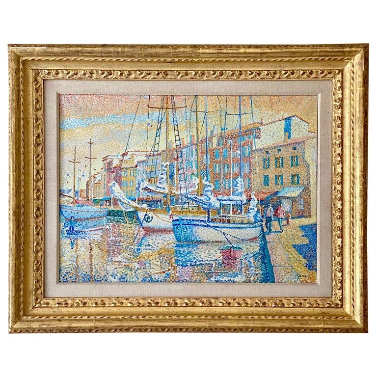 """Vue du Port, St Tropez"" by Yvonne Canu For Sale"