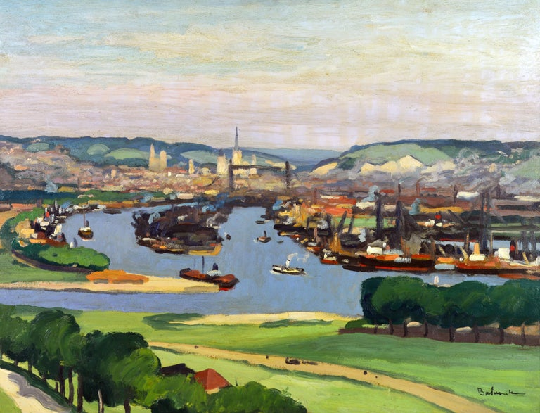 'Vue Plongeante sur le Port de Rouen'  by Gaston Balande, Spain France 1880-1971. Dimenisons: 21 x 29 in. without frame, 28.5 x 35 including frame. Oil on canvas, signed in lower right corner. Housed in a vintage classic gilt-wood