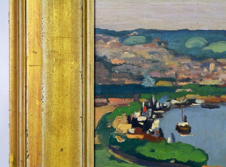 'Vue Plongeante sur le Port de Rouen' by Gaston Balande, Spain France, 1880-1971 In Good Condition For Sale In Ft. Lauderdale, FL