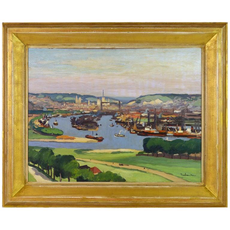'Vue Plongeante sur le Port de Rouen' by Gaston Balande, Spain France, 1880-1971 For Sale