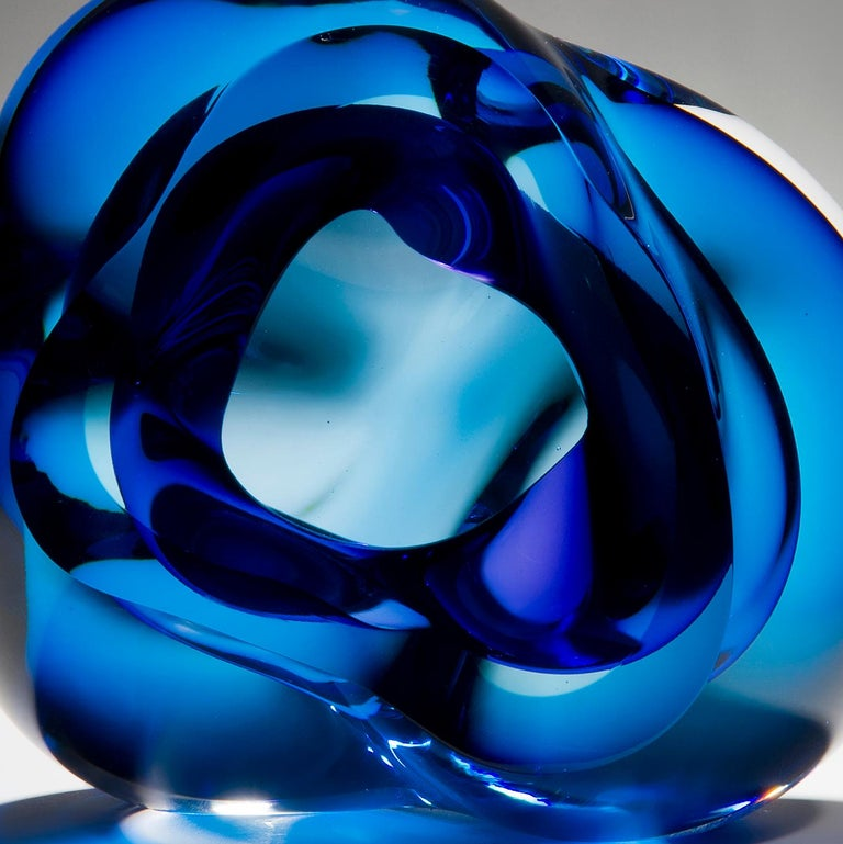 Hand-Crafted Vug in Blue and Hyacinth, a Unique Glass Sculpture by Samantha Donaldson For Sale