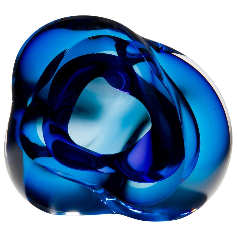 Vug in Blue and Hyacinth, a Unique Glass Sculpture by Samantha Donaldson For Sale