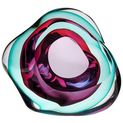 Vug in Emerald and Fuchsia, a Unique Glass Sculpture by Samantha Donaldson