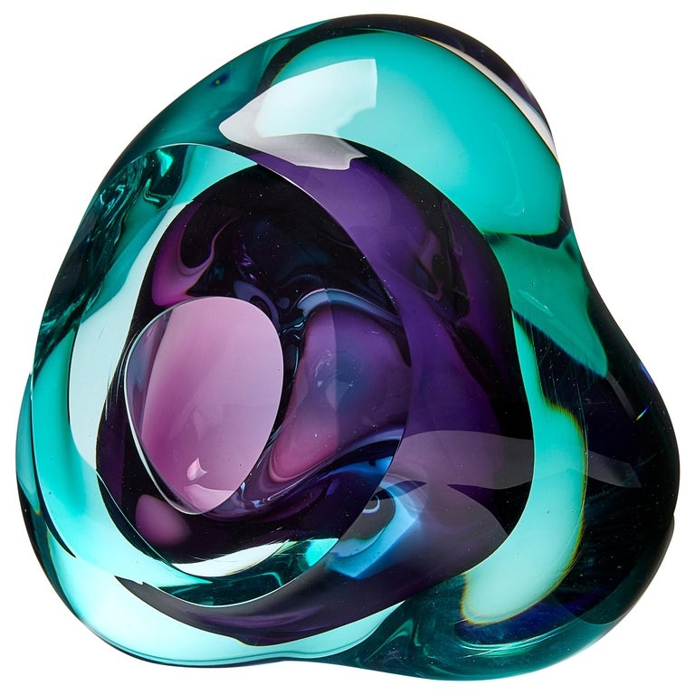 Vug in Emerald and Purple, a Unique Glass Sculpture by Samantha Donaldson For Sale