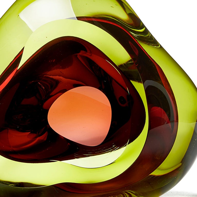 Organic Modern Vug in Lime and Fuschia, a Unique Glass Sculpture by Samantha Donaldson For Sale